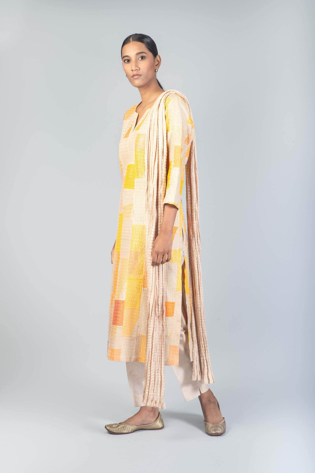Vivek Narang Kurtas Piano pleated patchwork suit