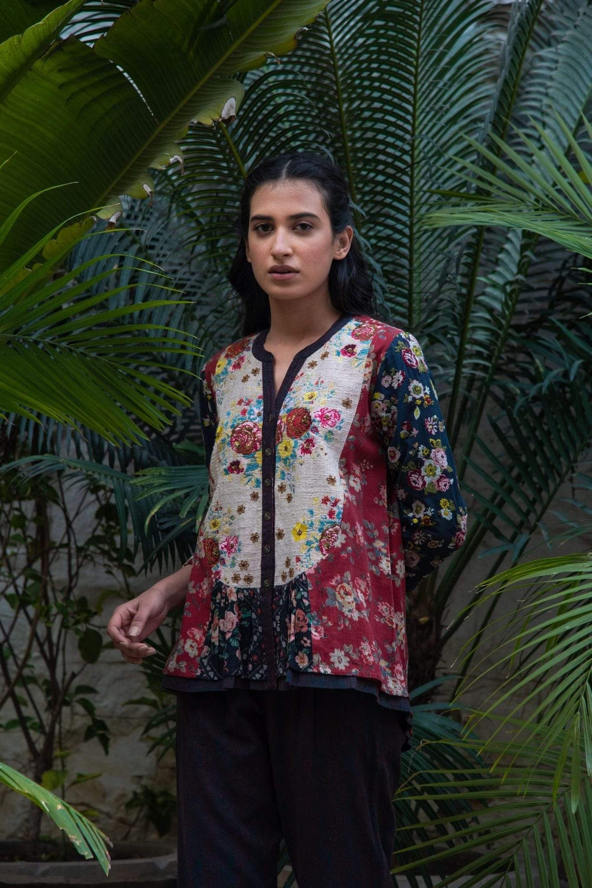 Vrisa Shirts & Tops Floral black cotton top