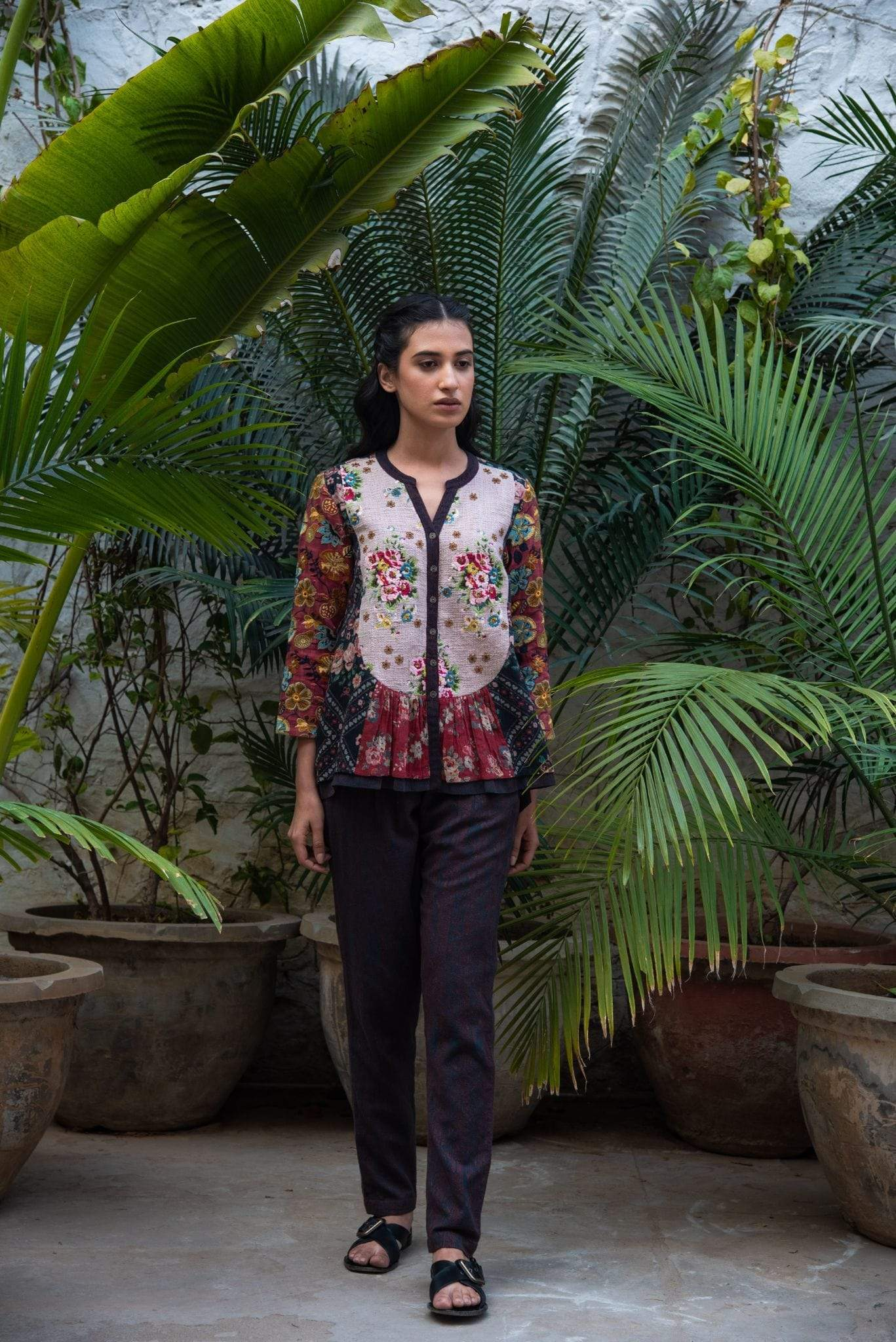 Vrisa Shirts & Tops Zardosi embroidered red top