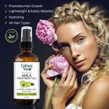 Load image into Gallery viewer, Epifany True Natural Amla Treatment Oil 4oz for all hair types blonde woman