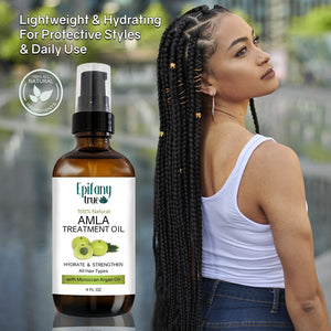 Epifany True Natural Amla Treatment Oil 4oz lightweight for protective styles and daily use with black woman