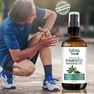 Epifany True 100% Natural Pimento Massage Oil for temporary relief of minor aches and pain such as backpain, arthritis, sore and tight muscles and strains. Older man with knee pain.