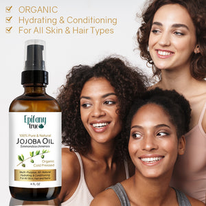 Epifany True Organic Cold Pressed Jojoba Oil is for all skin and hair types and nails. It is hydrating and conditioning.