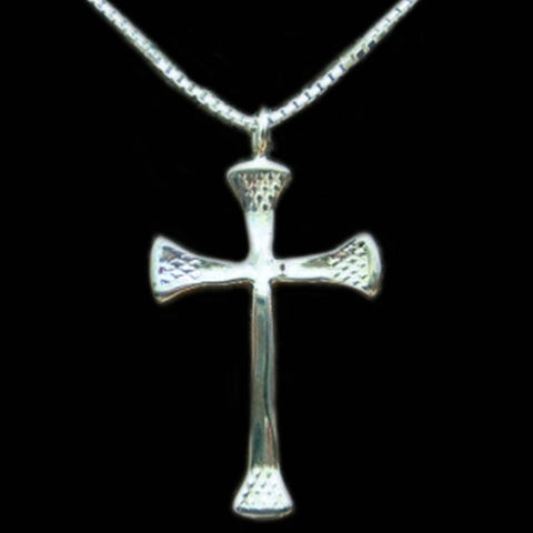 Silver 4 Nail Cross Necklace