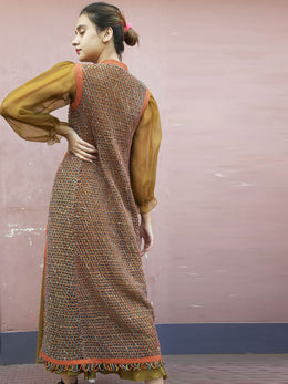 Hand Knotted Thread Jacket with Shirt and Skirt