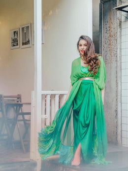 Green Bandhej Crop Top with Skirt and Cape Jacket