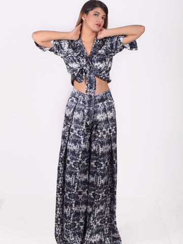 Printed Front Knot Shirt with Wide Pants