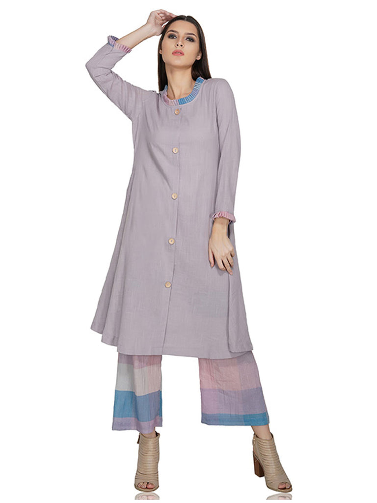 Kurta with Frill Details on Neckline and Cuffs
