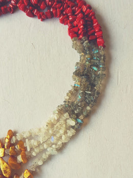Red Gold Painted Necklace