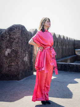 Coral Cape Top with Wide-Leg Pants