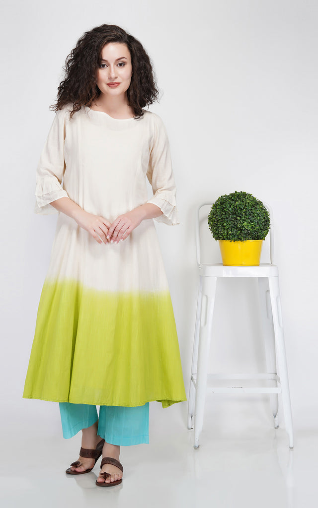 Ecru and Bright Green A-Line Kurta with Ruffled Sleeves