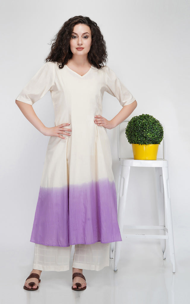 Lilac Cotton Linen Kurta