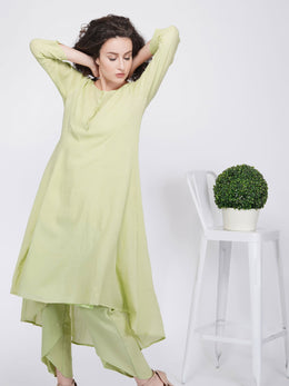 Hi-Low Flared Kurta with Button Placket