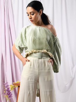 Pistachio Pleat Top and Ruffle Waist Bottom Pleat Pants