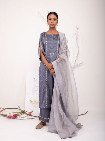 Dusty Blue Embroidery Chandrika Set