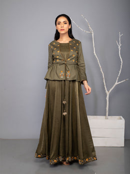 Dark Olive Kurta and Jacket Hamsini set