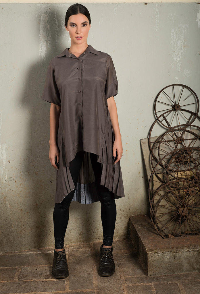 Taupe Shirt Dress with Full Back Pleating