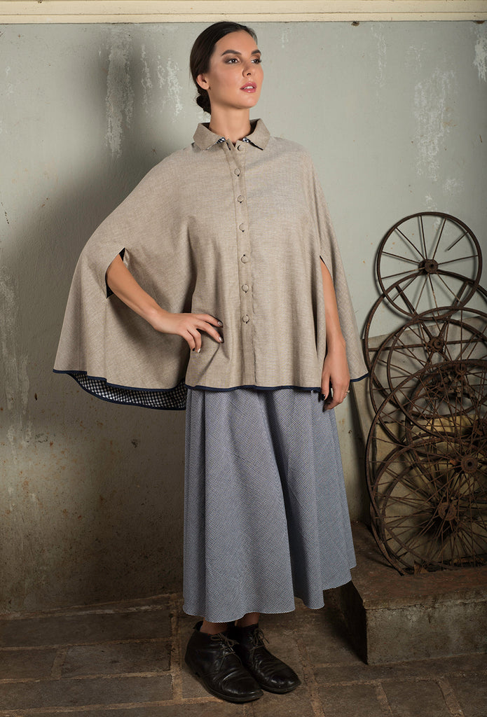 Beige Reversible Cape with Collared Neck