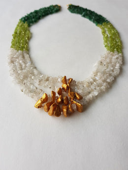 Green Gold Painted Necklace