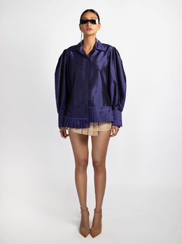 Royal Blue Mulberry Silk Shirt with Puff Oversized Sleeve