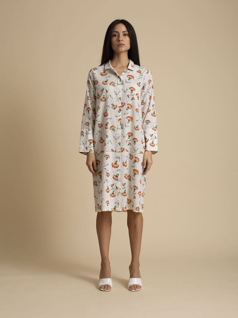 Breeze Printed Khadi Cotton Shirt Dress