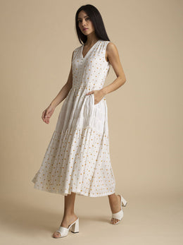 Khadi Cotton Beaded Gathered Midi Dress