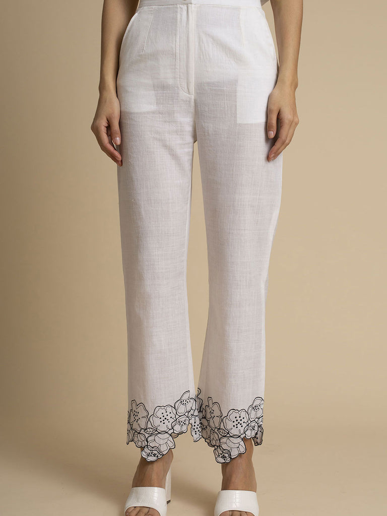 Cut Work Two-Tone Embroidered Hem Khadi Cotton Trouser