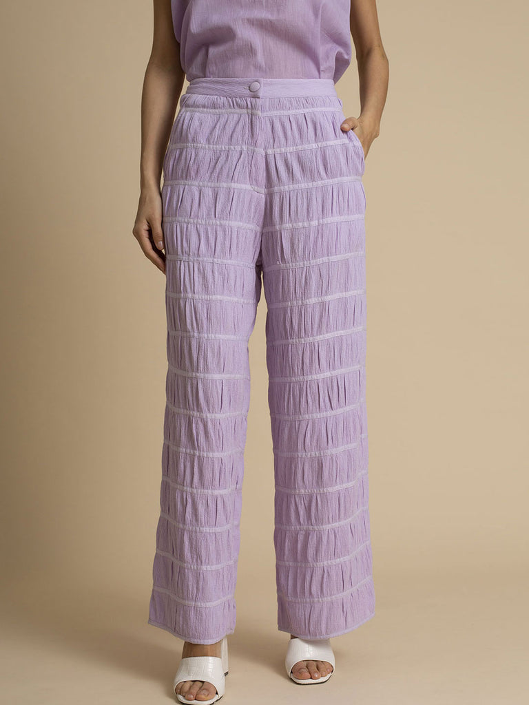 Orchid Crushed Straight Fit Cotton Trouser