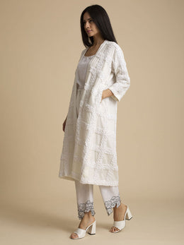 Paani Embroidered Cotton Coat with Self Check Pattern