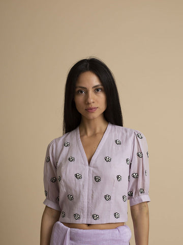 Orchid Floral Hand Embroidered Cotton Blouse