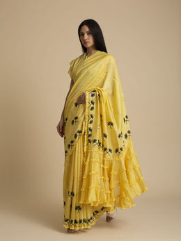 Hand Embroidered Chanderi Saree with Frill