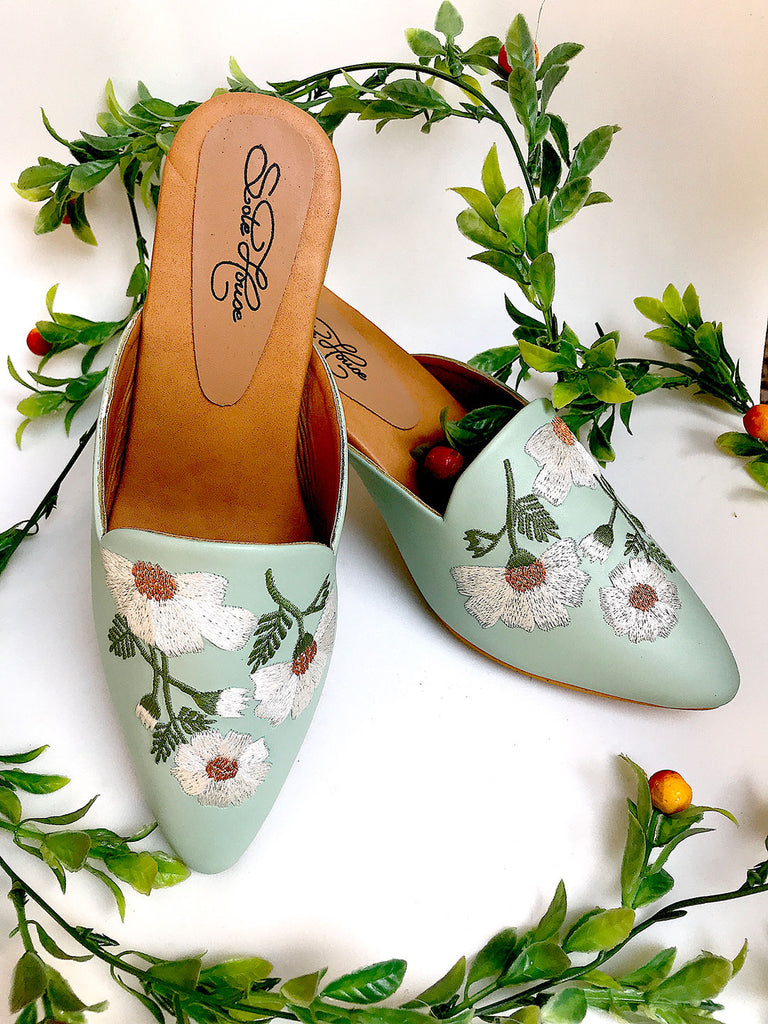 Mint Green Block Heels with Floral Embroidery