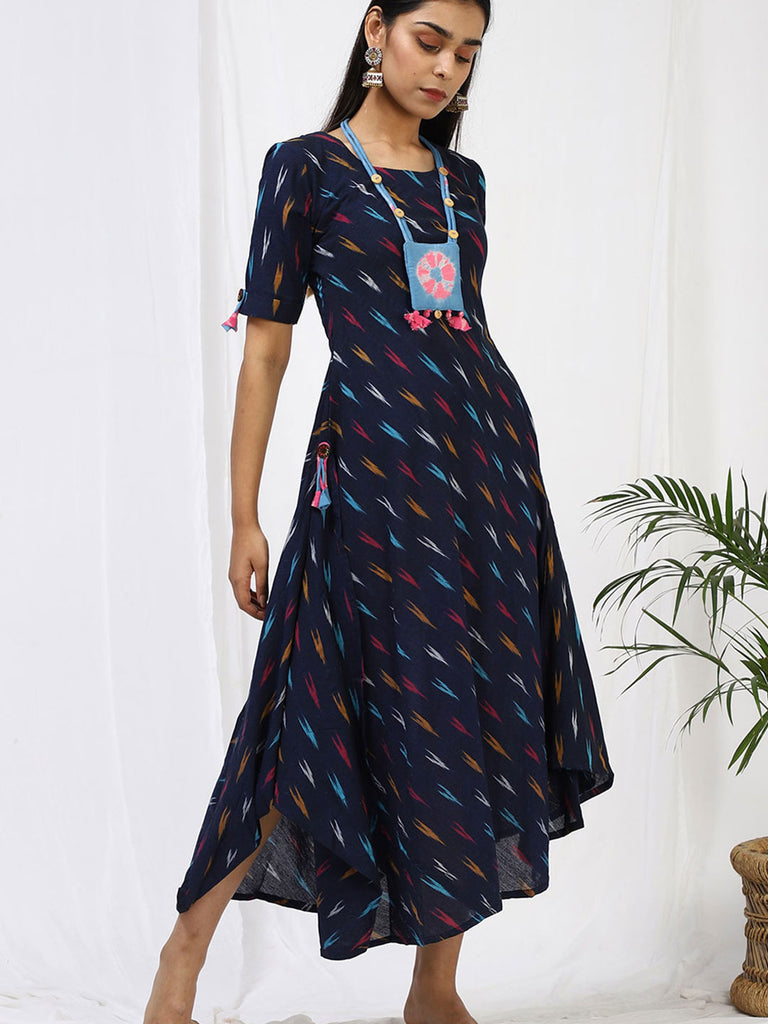 Leila Ikat Maxi with Side Cowl