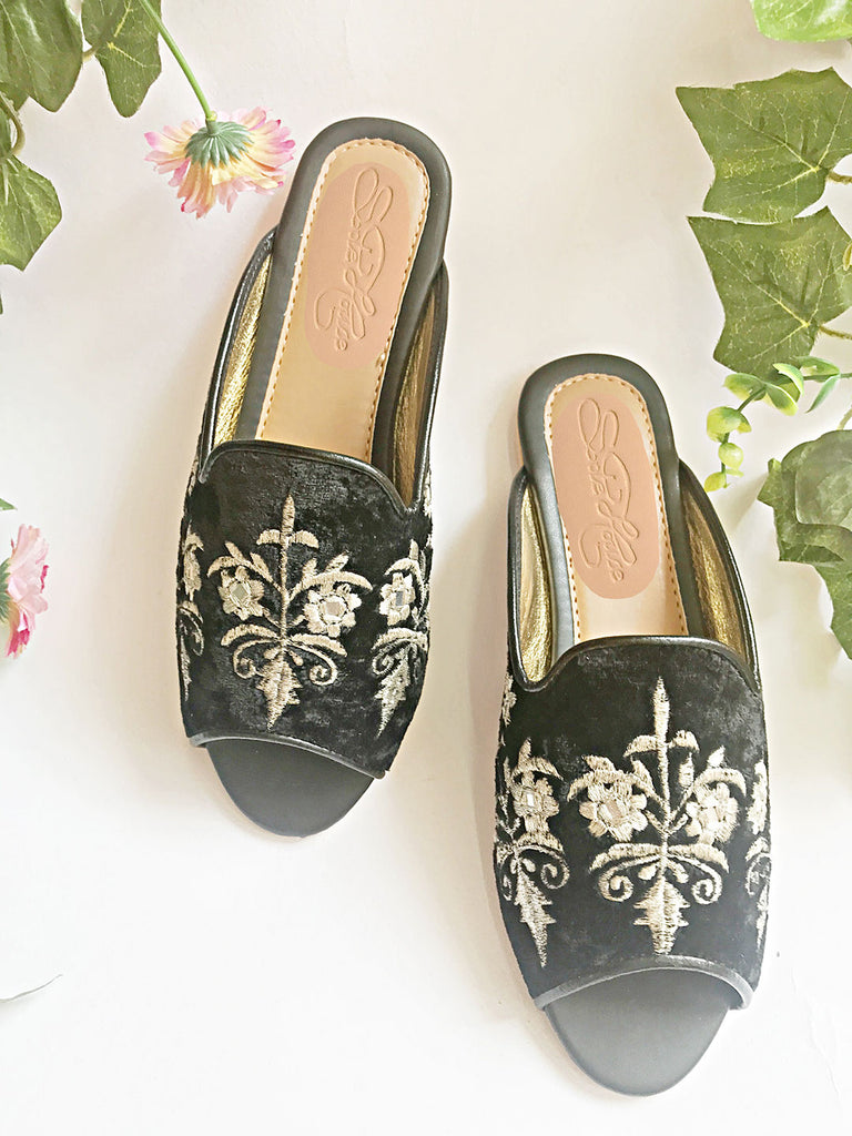 Black Velvet Loafers with Silver Zari Motifs