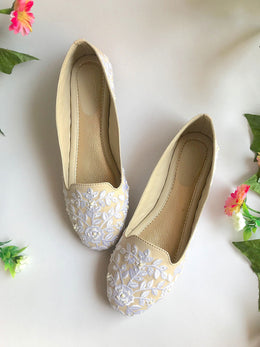 Cream Loafers with Baroque Inspired Embroidery