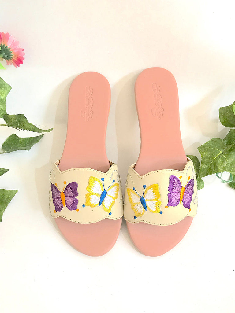 Cream Embroidered Flats with Old Rose Bottom