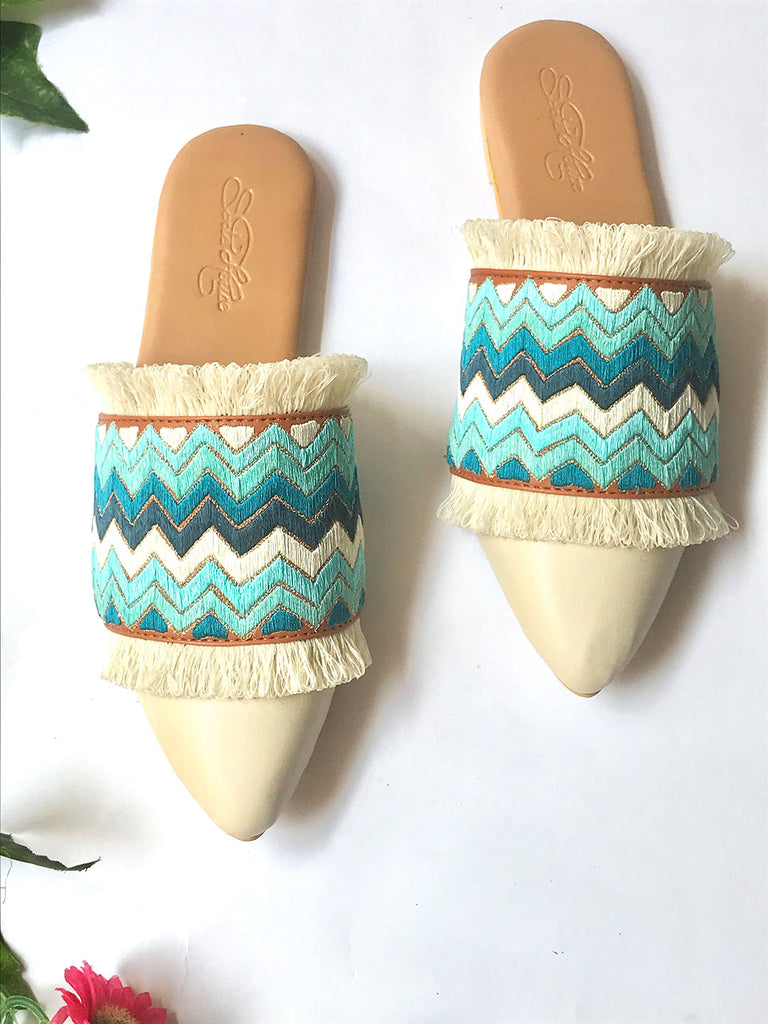 Cream Flats with Blue Zigzag Embroidery