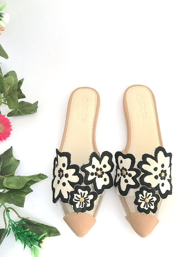 Cream Pointed Flats with Black Flowers