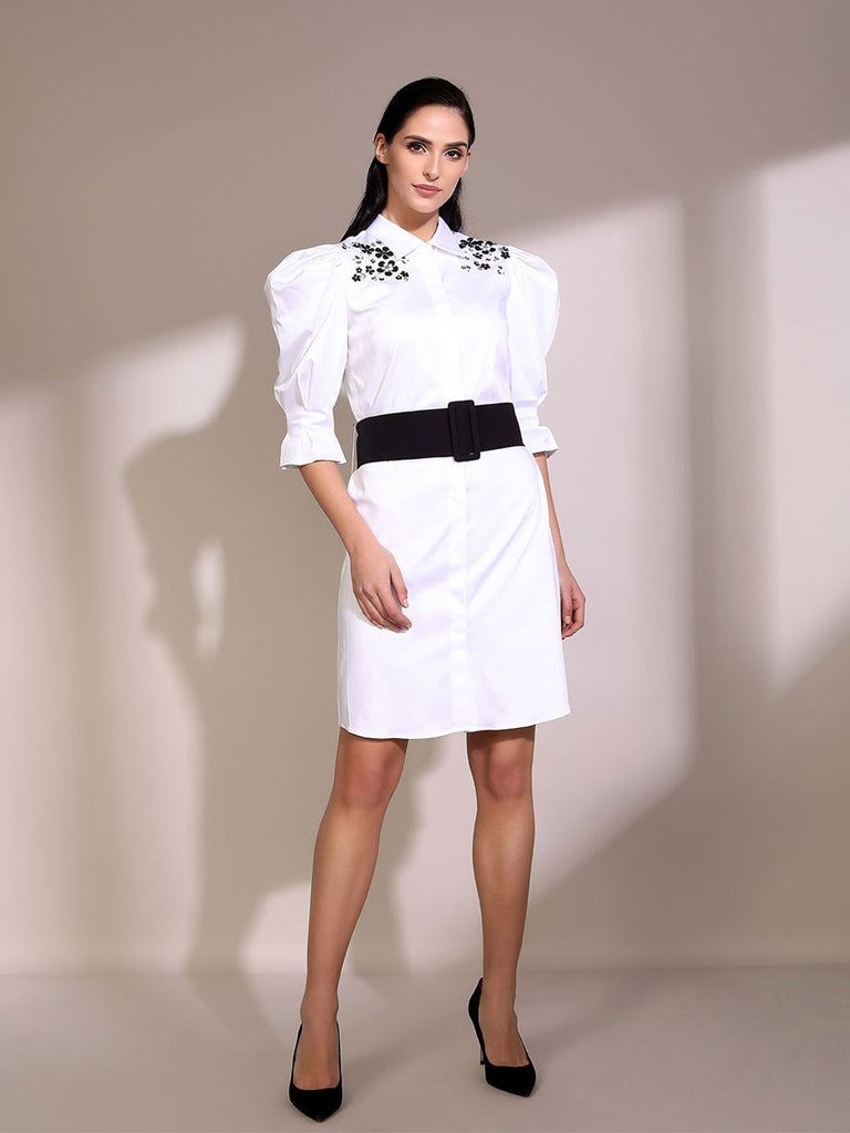 White Shirt Dress With Black And White Embroidery