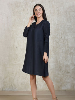 Midnight Blue Pleated Buttoned Tunic