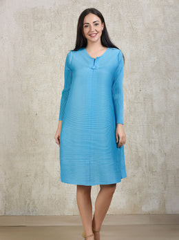 Sky Blue Pleated Buttoned Tunic