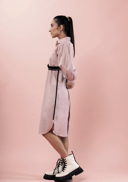 Pink Shirt Dress with Balloon Sleeves and Belt Detail