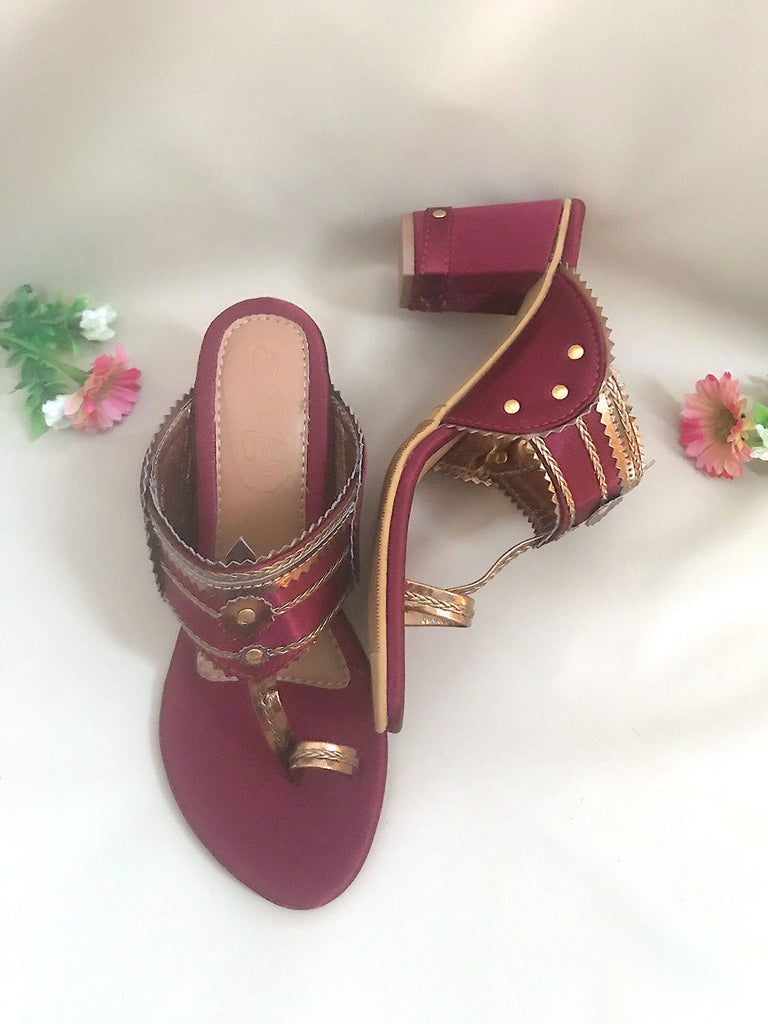 Maroon Kolhapuri Block Heels with Antique Gold Braiding