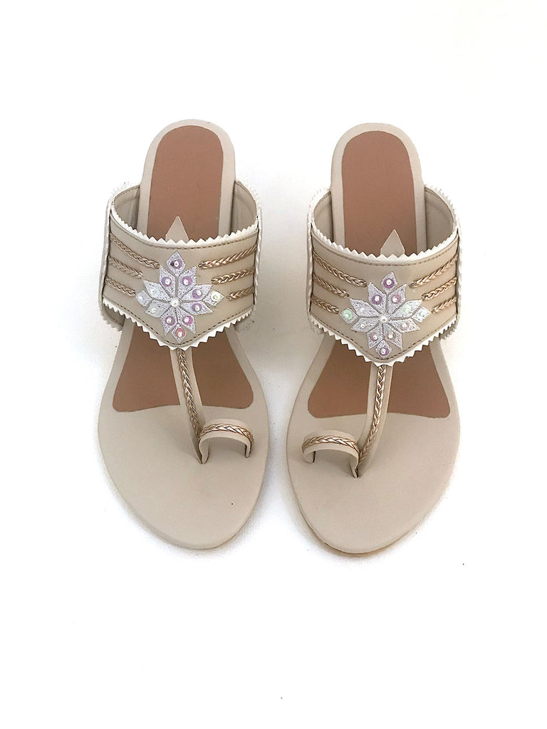 Cream Block Heels with Gold Zari Motif and Sequins