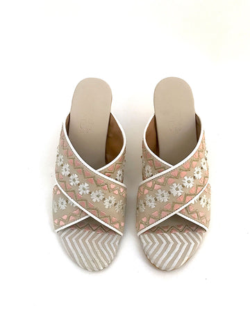 Cream Block Heels with Peach and Gold Zari Embroidery