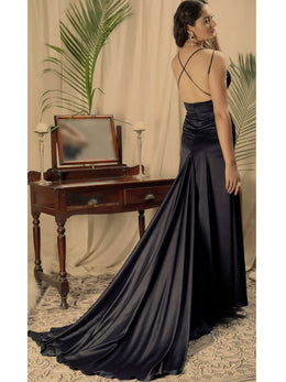 Navy Cross Back Cocktail Gown