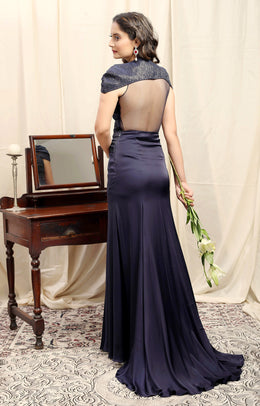 Navy Knot Detail Cocktail Gown with Detachable Cape