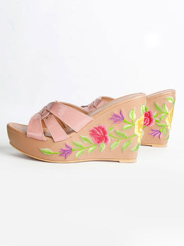 Nude Pink Wedges with Tulips and Gold Rivets