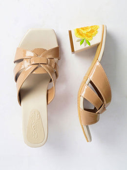 Nude Trapeze Heels with Roses and Tulips