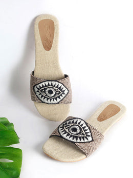 Beaded Evil Eye Jute Insole Flats
